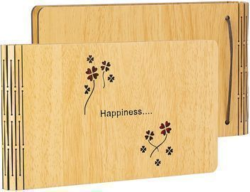 Small Photo Album 4x6 Happiness Wooden Cover