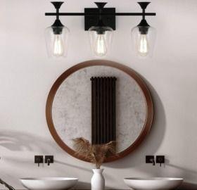 3-Light Matte Black Bathroom Lighting