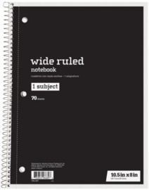 Just Basics Wide Ruled Spiral Notebook, 140 Pages
