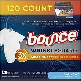Bounce WrinkleGuard Mega Dryer Sheets (Outdoor Fresh Scent, 120ct.)