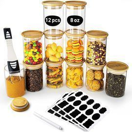 12 Pack Glass Jars with Bamboo Lids