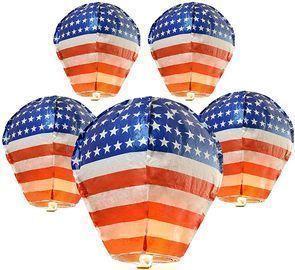 American Stars Stripes Sky Lanterns