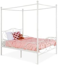 Classic 4-Post Metal Canopy Twin Bed Frame w/ Heart Scroll Design