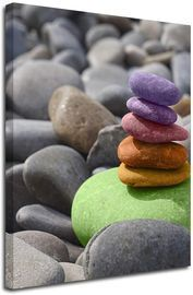 Pebbles Stack Colorful Rocks Canvas Wall Art