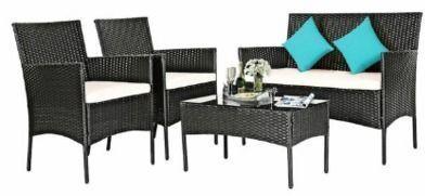 Rattan 4pc. Patio Furniture Set w/ Glass Table Top
