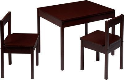 Amazon Basics Solid Wood Kiddie Table Set w/ Two Chairs