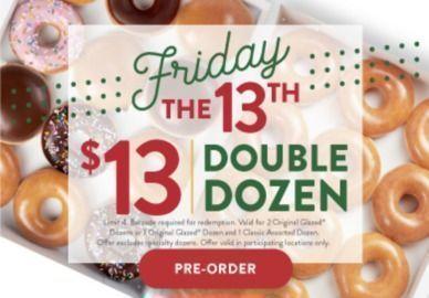Krispy Kreme - $13 Double Dozen - Friday The 13th Only