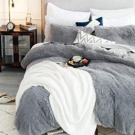 Bedsure Faux Fur Fuzzy Duvet Cover Set - Queen Size