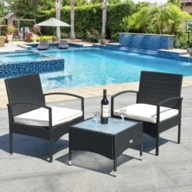 3pc Patio Wicker Rattan Furniture Set with Cushions