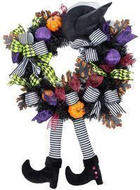 Halloween Decorations Witch Wreath