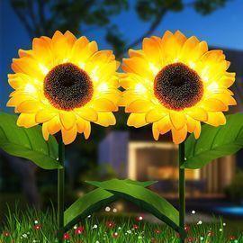 2 PACK Sunflower Solar Garden Lights
