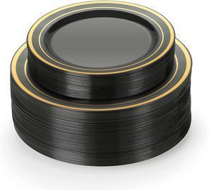30 Black And Gold Plastic Plates