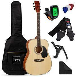 41 Acoustic Guitar Starter Kit w/ Digital Tuner, Padded Case, Picks, & Strap
