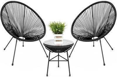 3pc. All-Weather Patio Acapulco Bistro Set w/ Rope & Glass Top Table