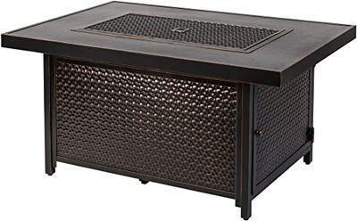 Fire Sense Weyland Rectangular Aluminum LPG Fire Pit Table