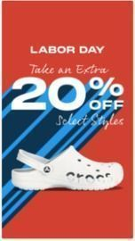 Extra 20% Off Select Crocs + Free Shipping