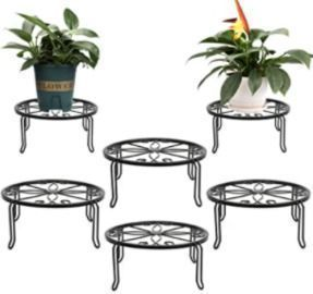 6 Black Metal Potted Plant Stands