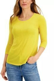 Style & Co Textured Seamed Top