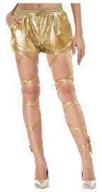 Elastic Metallic Shorts & Sexy Exotic Leg Wraps