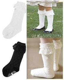 Kids Lace Trim Mid Calf Cotton Socks