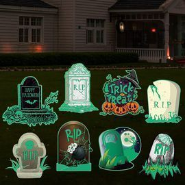 Halloween Fluorescence Graveyard Tombstones with Stakes - Set of 8