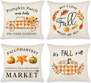 Fall Pillow Covers 18x18 Set of 4