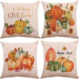 18x18 Pumpkin Throw Pillow Covers - 4 Pack