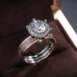 Two-Tone Large Rhinestones Elegant Ring