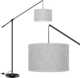 Arc Floor Lamp with Hanging Drum Shade