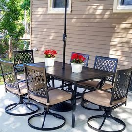 4pc Outdoor Swivel Dining Chairs