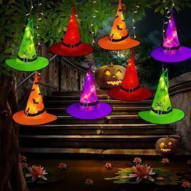 Halloween Decorations Outdoor Witch Hats Lights