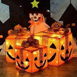 Set of 3 Pumpkin Gift Box Decorative Lights
