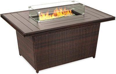 50,000 BTU Wicker Propane Fire Pit Table