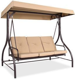 3 Seat Outdoor Canopy Swing Glider Furniture W/ Converting Flatbed Backrest