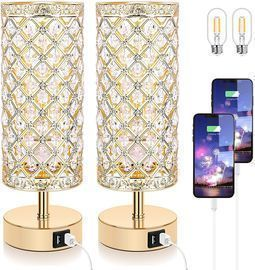 Touch Control Crystal Table Lamp Set of 2