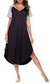 Long Nightgowns V Neck Sleeptshirts