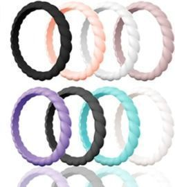 Women's Egnaro Braided Silicone Wedding Rings - 8pk