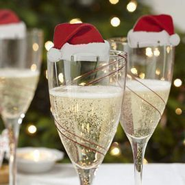 10Pcs Christmas Paperboard Champagne Glass Hats
