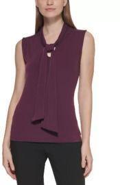 Calvin Klein Tie-Neck Sleeveless Knit Top