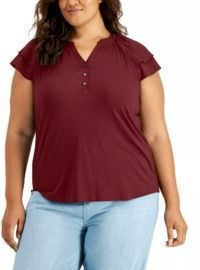Style & Co Plus Size Flutter-Sleeve Top