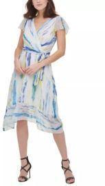 DKNY Brushstroke Midi Wrap Dress