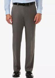 Haggar Men's Cool 18 PRO Classic-Fit Expandable Waist Flat Front Stretch Dress Pants