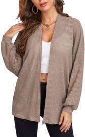 Women's Long Sleeve Knitted Solid Cardigan