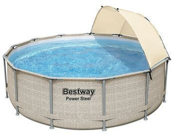 Bestway Power Steel Frame Above Ground Pool Set with Canopy