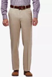 Haggar Men's Premium No Iron Khaki Classic Fit Flat Front Hidden Expandable Waist Pants