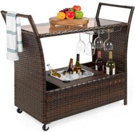 Wicker Serving Bar Cart