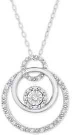 Macy's Diamond Triple Circle 18 Pendant Necklace (1/10 ct. t.w.) in Sterling Silver