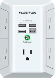 USB Wall Charger Multi Outlet Extender Surge Protector