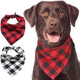Kytely Plaid Pet Dog Bandanas Dog Bandana