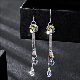 Fashion Trend Simple Color Crystal Long Earrings